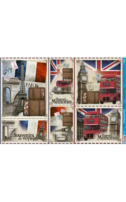 PAPEL P/ DECOUPAGE LITOARTE 49CMX34,3CM TRAVEL MEMORIES