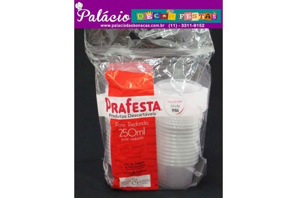 POTE PLASTICO PRAFESTA 250ML REDONDO COM TAMPA COM 24UNIDADES