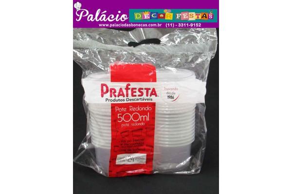 POTE PLASTICO PRAFESTA 500ML REDONDO COM TAMPA COM 24 UNIDADES