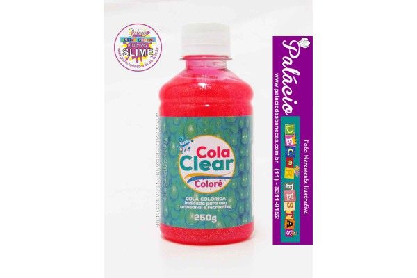 COLA CLEAR FUNNY COLORE GLITTER 250G VERMELHO