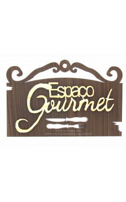 PLACA DECORADA 27X18 A LASER 3MM ESPACO GOURMET MDF