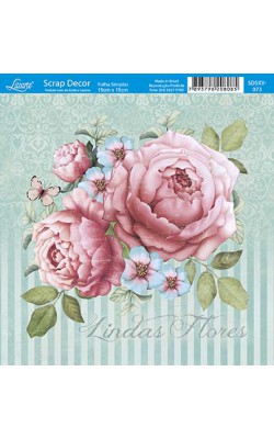 PAPEL P/ SCRAP DECOR 15X15CM LINDAS FLORES