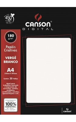 PAPEL VERGE CANSON A4 C/ 20 FLS 180G BRANCO