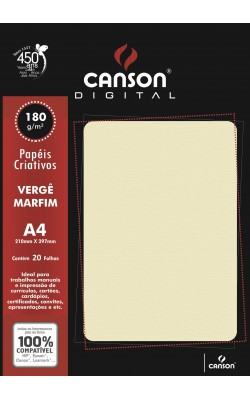 PAPEL VERGE CANSON A4 C/ 20 FLS 180G MARFIM