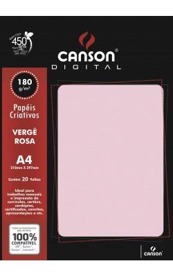 PAPEL VERGE CANSON A4 COM 20 FLS 180G ROSA