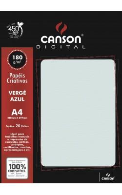 PAPEL VERGE CANSON A4 C/ 20 FLS 180G AZUL
