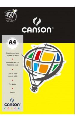 PAPEL COLOR CANSON AMARELO A4 180G C/ 50FLS