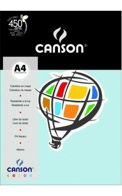 PAPEL CANSON COLOR A4 180G C/ 50 FLS AZUL TURQUESA