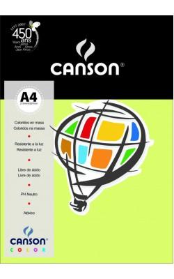 PAPEL COLOR CANSON VERDE CLARO A4 180G C/ 50FLS