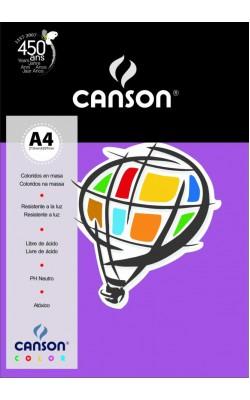 PAPEL CANSON COLOR A4 180G C/ 10 FLS LILAS