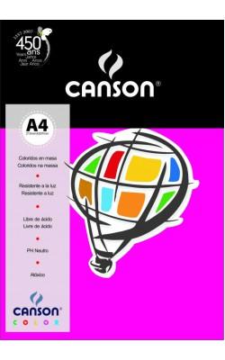PAPEL CANSON COLOR A4 180G C/ 10 FLS ROSA ESCURO